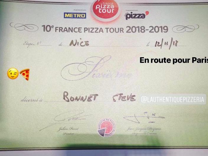 Mon diplome qui nous permet de se qualifier pour le concours du meilleur pizzaoilo de France à Paris